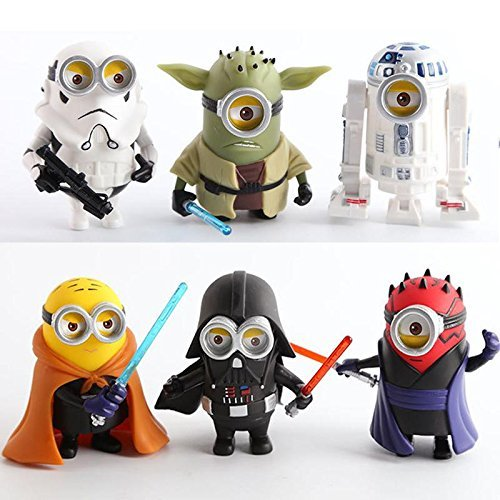 10cm 6pcs/lot Q Style Star War Minions Cosplay Darth Vader & Storm & Yoda Trooper Action Figure Model Toy