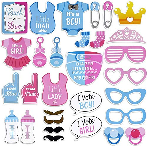 30 PCS Gender Reveal Party Boy or Girl Photo Booth Props DIY Kit On A Stick ()