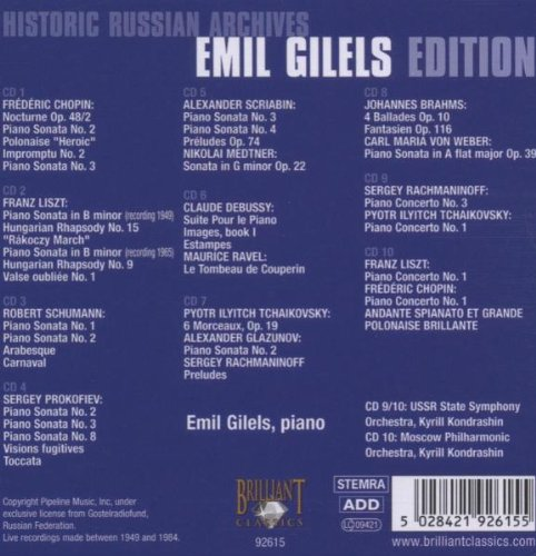 Emil Gilels by Brilliant Classics