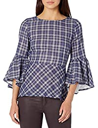 Women's Double Layer Plaid Top with Bell Sleeve