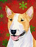 Caroline's Treasures SS4703CHF Bull Terrier Red and Green Snowflakes Holiday Christmas Canvas House Flag