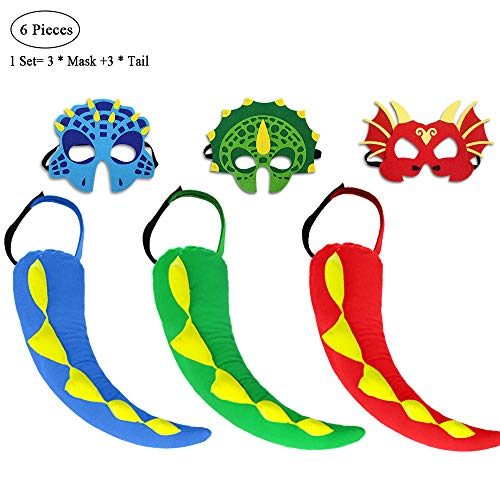 D.Q.Z Dragon Tail and Mask for Kids Boy Dinosaur-Costume Dress Up Party, 3 Pack