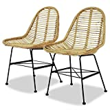 wicker dining room chairs Tidyard Set of 2 Modern Dining Chairs, Kitchen Dining Chair Living Room Furniture Natural Rattan