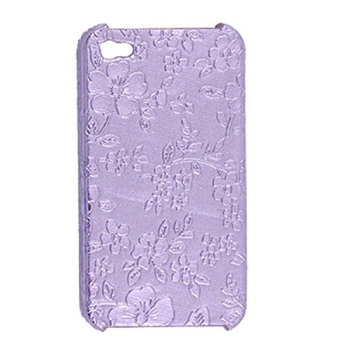 DealMux Purple Hard Flower Case Plastic Cover for iPhone 4 4G