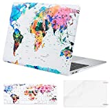 MOSISO MacBook Air 13 Inch Case 2018 Release A1932 with Retina Display, Plastic Pattern Hard Case Shell & Keyboard Cover & Screen Protector Only Compatible Newest MacBook Air 13, World Map