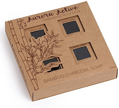 Aurora Active Activated Bamboo Charcoal Black Soap – 3.35 OZ Handmade Soap Bars with a Light and Fresh Scent – Facial Cleansing Treatment for Acne Pro…