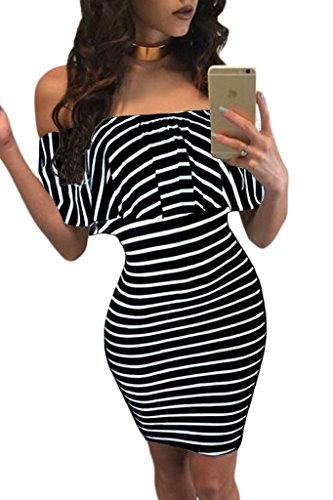 Astylish Shoulder Striped Bodycon Ruffles
