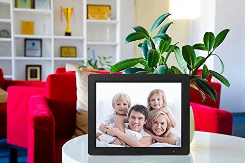 Véfaîî- Digital Picture Frame 15 Inch, Electronic Photo Music Video Frame Playback 1080P + Ultra Bright + 6 Ft Power Cord + Motion Sensor + Calendar + Supporting USB/SD Memory Card (Black)