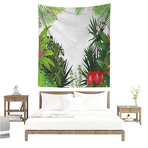 (Agoza Leaf DIY Tapestry Hibiscus Plumeria Crepe Gingers Anthurium Leaves Blossoms Image Literary Small Fresh 70W x 84L INCH Hot Pink White Red and Green)