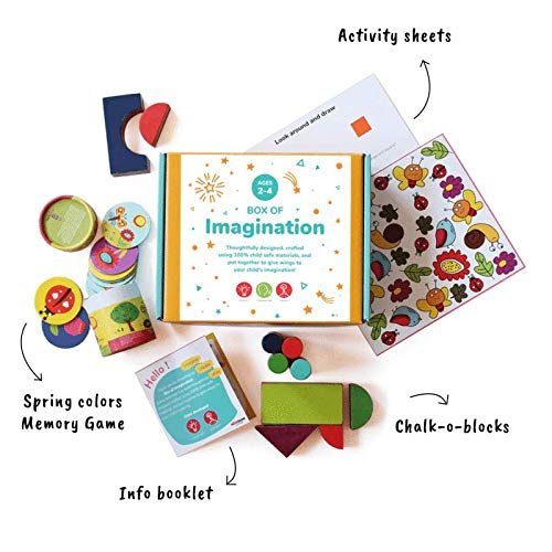 Shumee Box of Creativity for Toddlers - Wooden Chalk-o-Blocks Toy, Memory Cards Game and I Spy Counting Game (Activity Box for 2 Years Old+)
