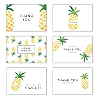 Gooji 4x6 Pineapple Thank You Cards (Bulk 36-Pack) Matching Peel-and-Seal White Envelopes | Assorted Set, Watercolor, Colorful Graphics | Birthday Party, Baby Shower, Weddings, Graduation