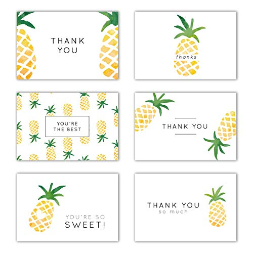 - Gooji 4x6 Pineapple Thank You Cards (Bulk 36-Pack) Matching Peel-and-Seal White Envelopes | Assorted Set, Watercolor, Colorful Graphics | Birthday Party, Baby Shower, Weddings, Graduation