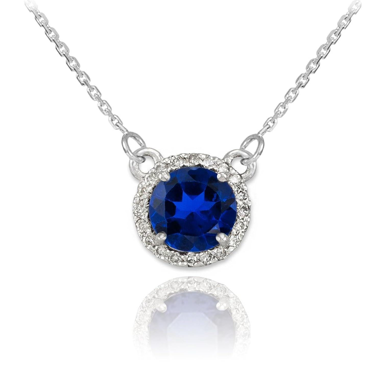 Amazon 14k White Gold Diamond Accented Natural Blue Sapphire
