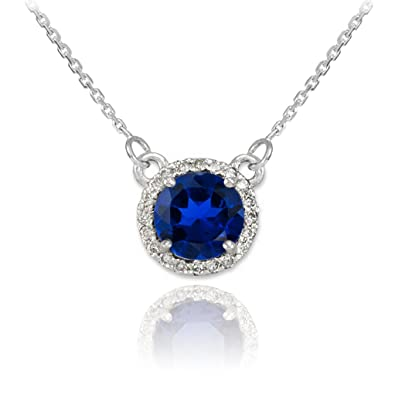 Amazon 14k white gold diamond accented natural blue sapphire 14k white gold diamond accented natural blue sapphire solitaire necklace with dainty 16quot audiocablefo