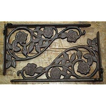 "6 BROWN ANTIQUE-STYLE 7/"" SHELF BRACKETS CAST IRON garden wall rustic CLASSIC"