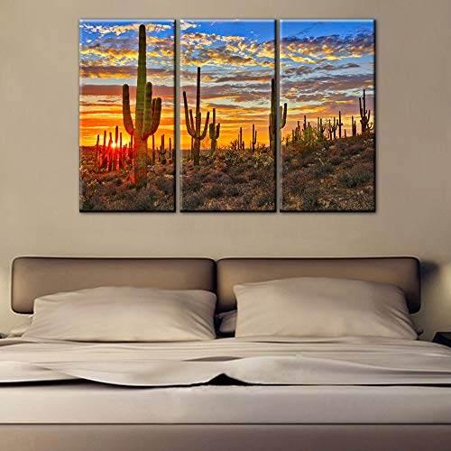 TUMOVO Landscape Pictures Sunset in Arizona Desert Paintings for Living Room Saguaro Cacti Mountains,Phoenix Wall Art Canvas Modern Artwork Home Decor Wooden Framed Stretched Ready to Hang(28''x42'') ()