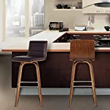 """Armen Living LCVIBABRWA30 Vienna 30"""" Bar Height Barstool in Brown Faux Leather and Walnut Wood Finish"""