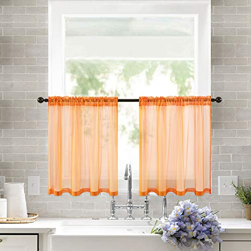 MIULEE 2 Panels Kitchen Tiers Half Window Sheer Curtains Rod Pocket Semitranslucent Voile Drapes for Kitchen Bathroom Small Windows 29 by 24 Inch Orange (Orange Curtains For Bathroom)