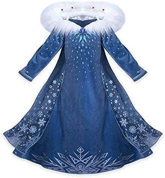 140 7-8 Anni CIRAD Vestito Bambina Costume Ragazze Frozen Principessa Abiti Partito Vestito Elsa Anna con Bacchetta e Corona
