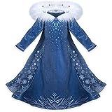 CIRAD Vestido Frozen Niñas Disfraz Anna Elsa (130 (6-7 años))