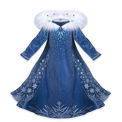 CIRAD Vestido Frozen Niñas Disfraz Anna Elsa (140 (7- 8 años))