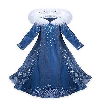 Vestido Frozen Niñas Disfraz Anna Elsa con Varita y Corona (150 (8 -9 años) )
