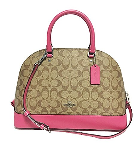 Coach Signature Sierra Satchel (SV/Khaki/Magenta) (Coach Purse Outlet)