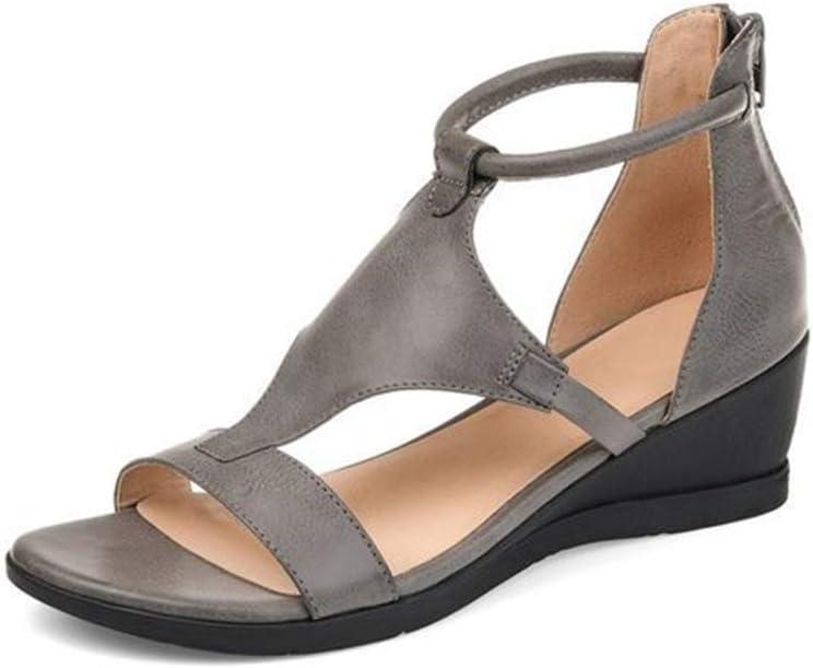 Sandalias De Tacón De Cuña De Verano Para Mujer Grises Zapatos De Mujer Casuales Boca De Pez De Gran Tamaño Sandalias De Tacón Alto Con Parte Inferior Gruesa Hebilla Punta Abierta