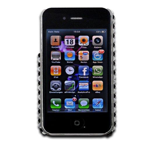 deinPhone - iPhone 4 4S Case Schutzhülle Schutz Handy Hülle Bumper Tasche Etui Hard Case mit Perlen besetzt Schwarz Weiß Zebra Style