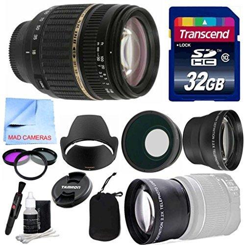Tamronレンズキットfor Canon DSLRカメラwithスーパーワイドTamron 18 – 200 mm f/3.5 – 6.3 XR di-ii LD Aspherical (If) マクロ+ワイド&補助レンズ望遠+ 3枚フィルタキット+ 32 GB Transcend SDカード   B017IFR5DE