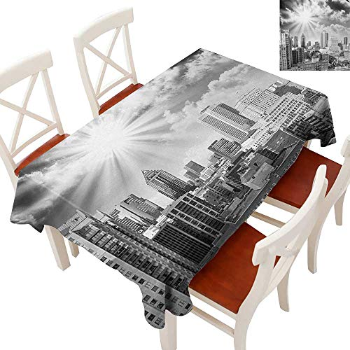 Elegance Engineered Christmas Tablecloth Patterns Tablecloths for Kitchen Aerial View Montreal Canada Cityscape with Skyscrapers Architecture Black White Grey 70
