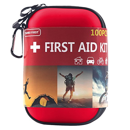 TIANBO FIRST First Aid Kit for Survival and Emergencies (100 Pieces) Light, Waterproof, Compact and Comprehensive - Perfect for Hiking, Backpacking, Camping, Travel, Car & Cycling, Outdoors or Sports