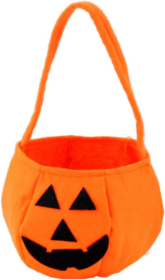 Zakally Halloween Tote Bags Trick or Treat Goody Bags Pumpkin Non-Woven Bags Halloween Party Favors Supplies