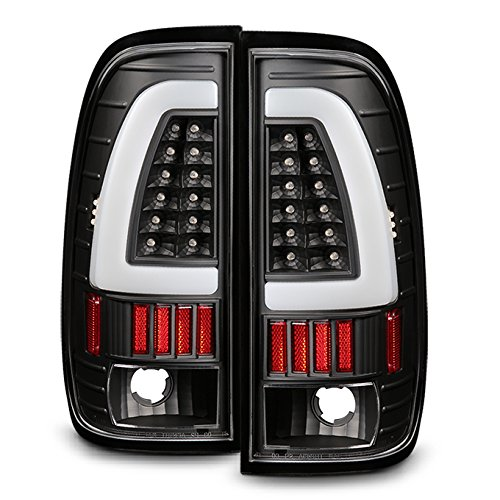 For 1997-2003 Ford F150 | 1999-07 F-Series Super Duty LED Tube Style Black Taillights Taillamp Pair - Light F-series Ford 2004