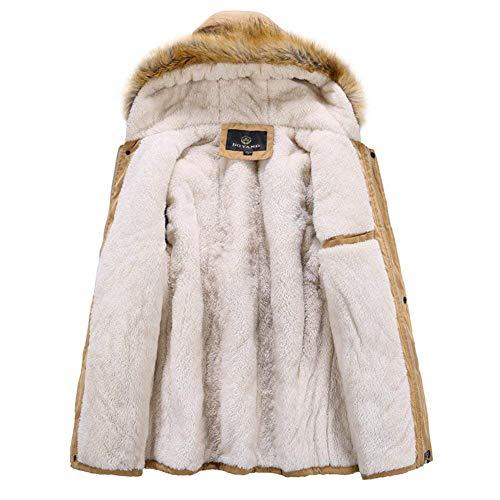 Giacche Cappotto Incappucciati Pelliccia Degli Olive Invernale Di Calde Cappuccio Outwear Kaki Abbigliamento Nero Parka Uomini BtIWrnBqw