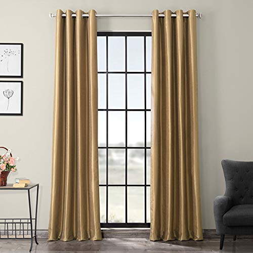Half Price Drapes PDCH-KBS8-84-GRBO Grommet Blackout Vintage Textured Faux Dupioni Silk Curtain, Flax Gold