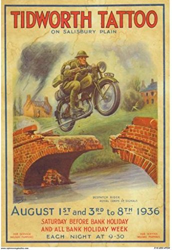 Tidworth Tattoo Motorcycle Jumping Bridge Poster 1930s (1940 Tattoo)