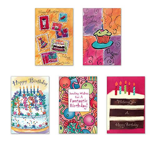 (10 Birthday Cards with Envelopes - Boxed Enclosure Cards 5 Different Designs. Fantus Paper)