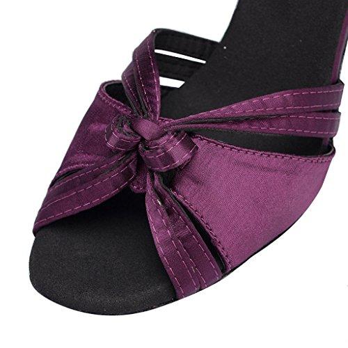 Crc Womens Peep Toe Bow Cinturino Alla Caviglia Raso Da Ballo Morden Tango Party Wedding Professionale Scarpe Da Ballo Viola