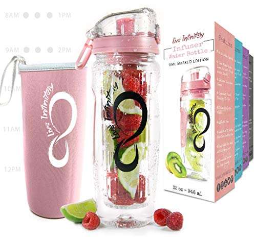 - Live Infinitely 32 oz. Fruit Infuser Water Bottles with Time Marker, Insulation Sleeve & Recipe eBook - Fun & Healthy Way to Stay Hydrated (Rose Gold Timeline)