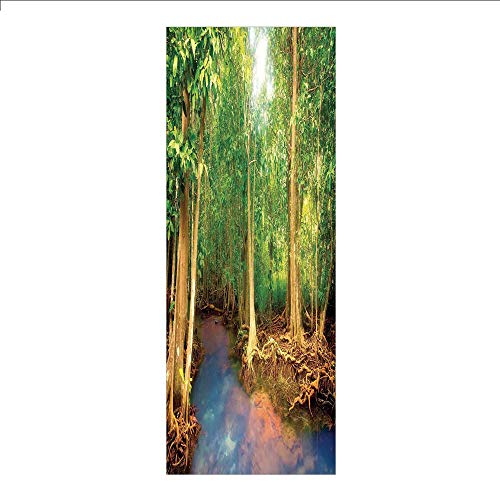 3D Decorative Film Privacy Window Film No Glue,Rainforest Decorations,Roots of Mangrove Trees with Turquoise Creek Asian Nature Wildlife Decoration,Green Brown,for ()