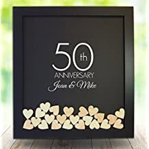 50th anniversary gifts for parents, 50th anniversary gifts for couples, 25th anniversary GuestBook 30x35 CM with 120 Pcs Wooden Hearts