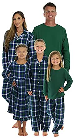 SleepytimePjs Family Matching Winter Green Plaid Pajamas PJs Sets for the Family Girls Nightgown (STM-3024-K-3501-2)