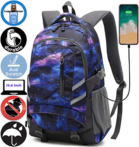 Backpack Bookbag for School Student College Business Travel with USB Charging Port Fit Laptop Up to 15.6 Inch Night Light Reflective Anti Theft (Galaxy C)