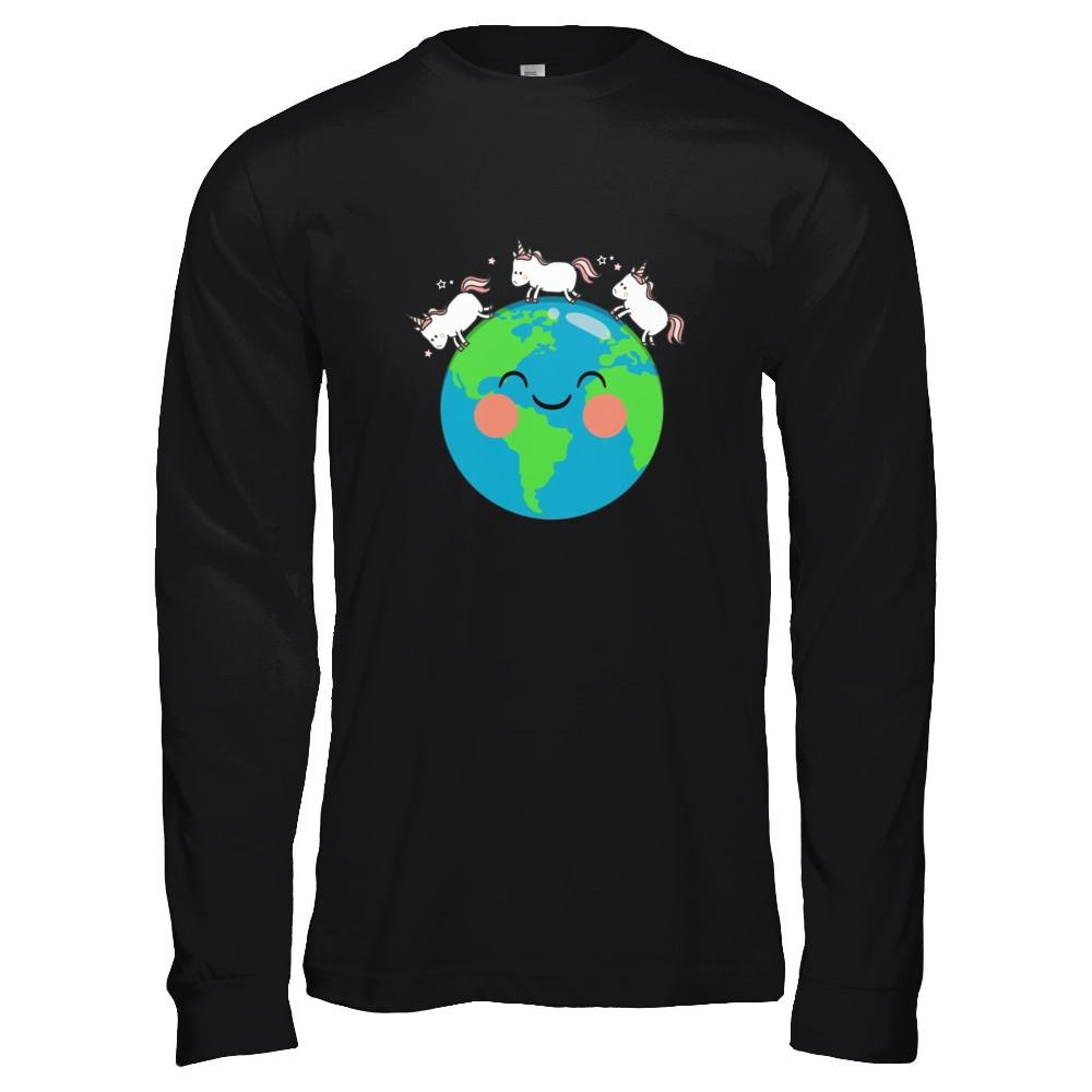 Unisex Jersey Long Sleeve Tee Teely Shop Womens Cute Unicorns Earth Day Bella Canvas