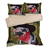 Eye-catching Funny Hat Pig Cotton Microfiber 3pc 80''x90'' Bedding Quilt Duvet Cover Sets 2 Pillow Cases Full Size