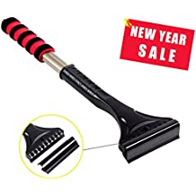Ice Scraper for Cars and Small Trucks, Removable Snow Removal Blade Cover, 17.7 inches Long Handle with Foam Grip