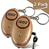 Personal Alarm, JDDZ 140 db Safe Siren Song Emergency Self Defense Protection Device Anti-Rape/Anti-Theft Security With Mini LED Flashlight for Women, Kids and Elderly 2 Pack (Gold)