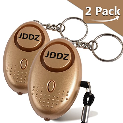 Personal Alarm 2 Pack, JDDZ 140 db Safe Siren Song Emergency Self Defense Protection Device Anti-Rape/Anti-Theft Security with Mini LED Flashlight for Women, Kids and Elderly etc.(Gold)