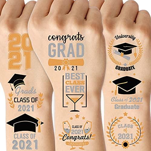 SUNKIM 36Pcs 2021 Graduation Party Supplies Graduation Tattoos Class of 2021 Grad Temporary Tattoo Sticker for Students Kids Adults Graduation Gift Grad Decoration Black Gold Silver
